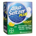 Alka-Seltzer Plus Night Cold Formula – Lemon 20 Tabs Pain Relief