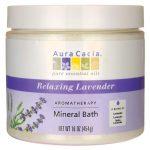 Aura Cacia Aromatherapy Mineral Bath – Relaxing Lavender 16 oz Jar