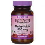 Bluebonnet Nutrition Earthsweet Chewables Methylfolate 800 mcg 90 Chewables B Vitamins