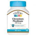 21st Century Chromium Picolinate 200 mcg 100 Tabs Health Minerals