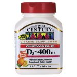 21st Century D3 Chewable – Orange Flavor 400 Iu 110 Chewables Bone Health