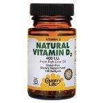 Country Life Natural Vitamin D3 400 Iu 100 Soft Gels Bone Health