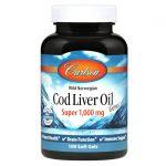 Carlson Super Wild Norwegian Cod Liver Oil Gems 1,000 mg 100 Soft Gels Essential Fatty Acids