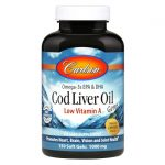 Carlson Cod Liver Oil Gems Low Vitamin A – Lemon 1,000 mg 150 Soft Gels Essential Fatty Acids