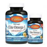 Carlson Elite Omega-3 Gems – Lemon 1,600 mg 90 + 30 Free Soft Gels Essential Fatty Acids