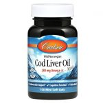 Carlson Wild Norwegian Cod Liver Oil Minis 100 Soft Gels Essential Fatty Acids