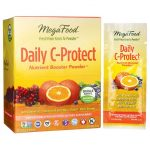 MegaFood Daily C-Protect Nutrient Booster Powder – Singleserve 30 Packets Vitamin C Immune Support