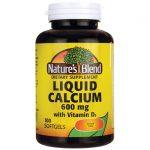 Nature's Blend Liquid Calcium with D3 100 Soft Gels Bone Health