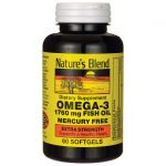 Nature's Blend Omega-3 Fish Oil Extra Strength 1,760 mg 60 Soft Gels Essential Fatty Acids