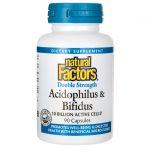 Natural Factors Double Strength Acidophilus & Bifidus 10 Billion CFU 90 Caps Probiotics
