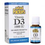 Natural Factors Vitamin D3 Drops 1,000 Iu Liquid Bone Health
