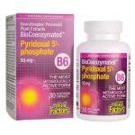 Natural Factors Biocoenzymated Pyridoxal 5′-phospahte B6 50 mg 30 Vegan Caps B Vitamins