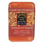 One With Nature Dead Sea Minerals Triple Milled Bar Soap – Grapefruit Guava 7 oz Bars