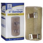 Quality Choice Elastic Wrap 4″ Bandage with Easy Clips 1 Unit