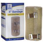 Quality Choice Elastic Wrap 4″ Bandage with Easy Clips 1 Unit
